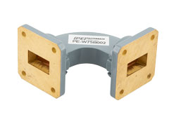 WR-75 Commercial Grade Waveguide H-Bend with UBR120 Flange Operating from 10 GHz to 15 GHz