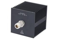 Medium Power 50 Watts RF Load Up To 18 GHz With N Female Input Square Body Black Anodized Aluminum Heatsink